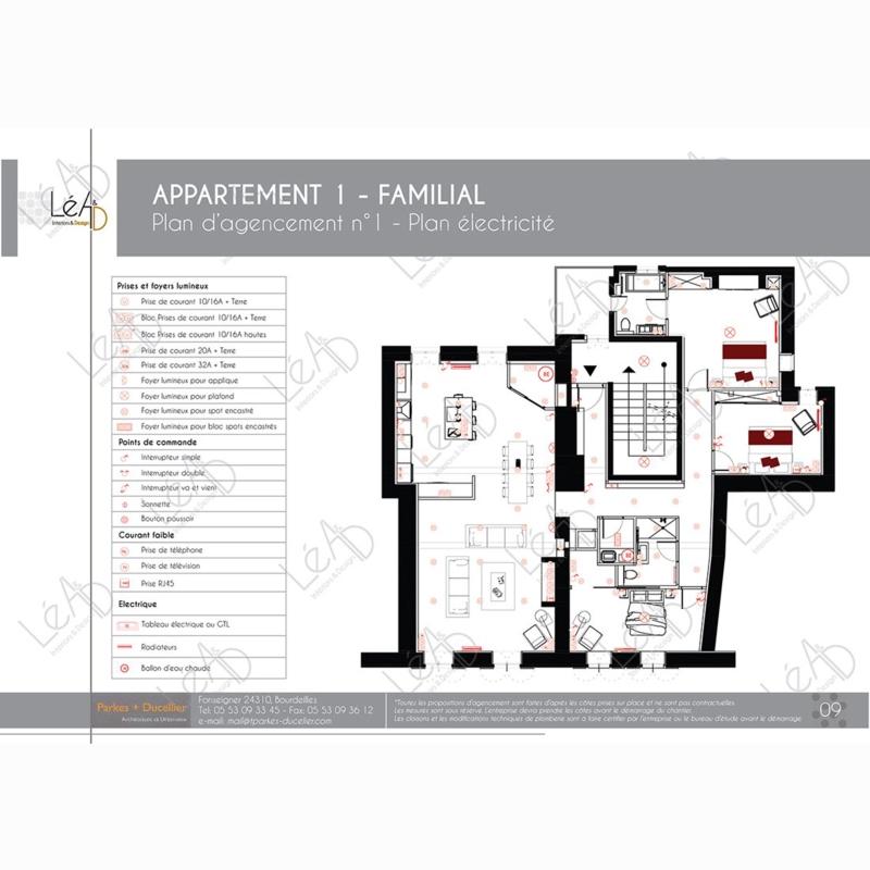 Léa Architecture Décoration Intérieur Bergerac_Agencement appartement Familial pour location - Plan électricité