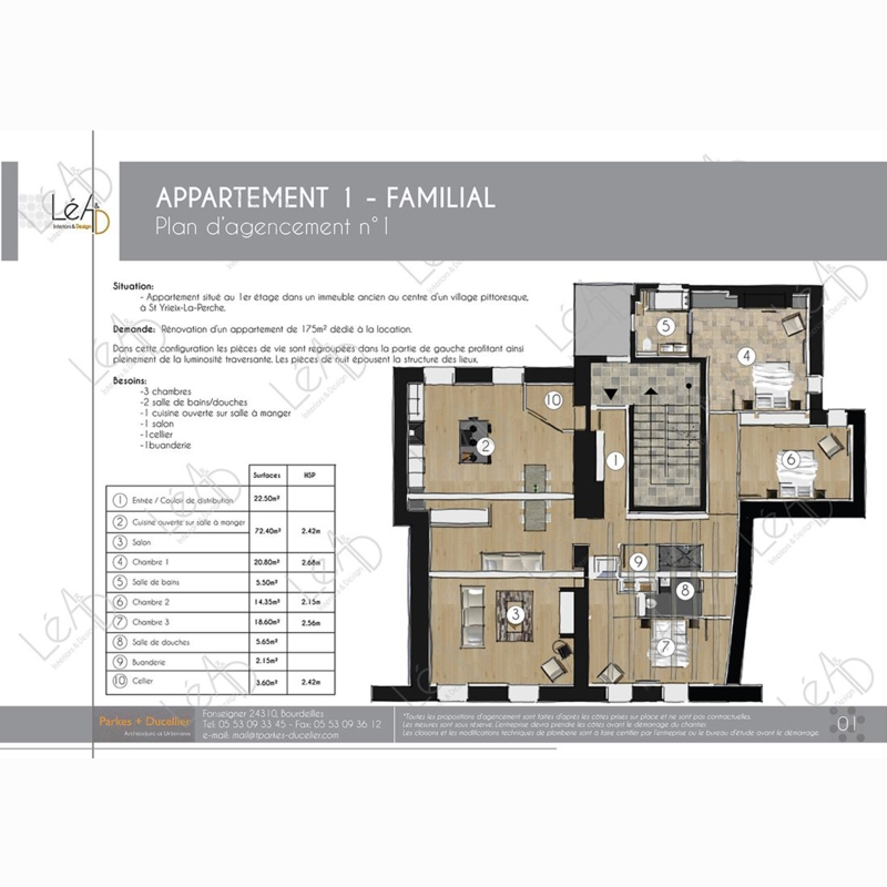 Léa Architecture Décoration Intérieur Bergerac_Agencement appartement Familial pour location - Plan agencement