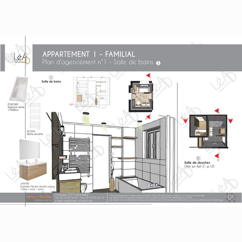 Léa Architecture Décoration Intérieur Bergerac_Agencement appartement Familial pour location - Salle de bains