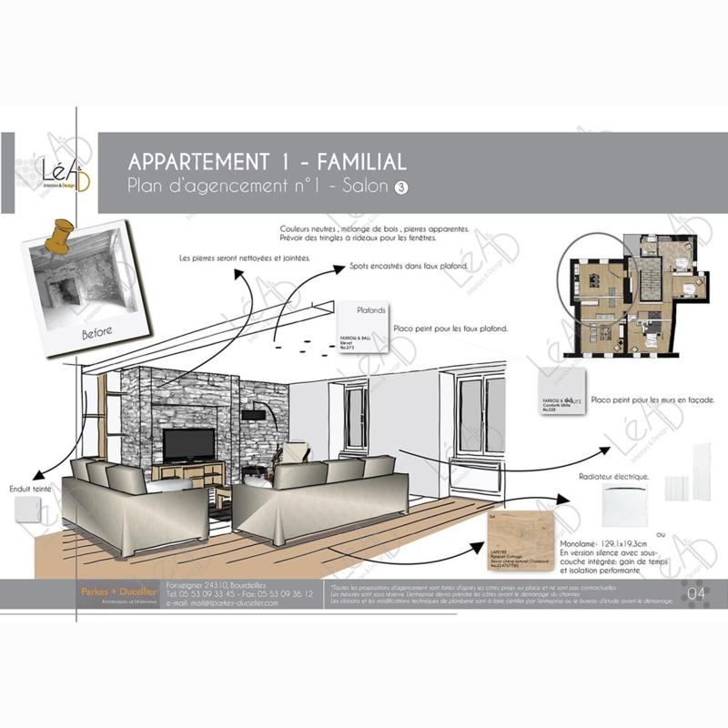 Léa Architecture Décoration Intérieur Bergerac_Agencement appartement Familial pour location - Salon