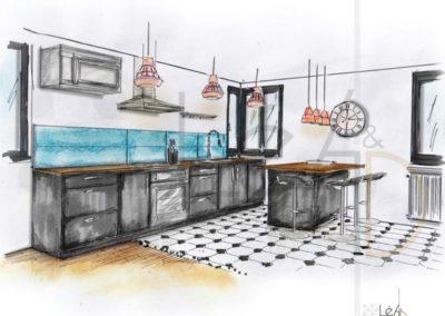 Léa Architecture Décoration Intérieur Bergerac_Coaching Déco - Cuisine - Chêne miel - Gris laqué - Carreaux noir et blanc - turquoise