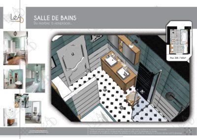 Léa Architecture Décoration Intérieur Bergerac_Coaching Déco - Salle de bains - Ambiance vert d eau noir blanc bois clair