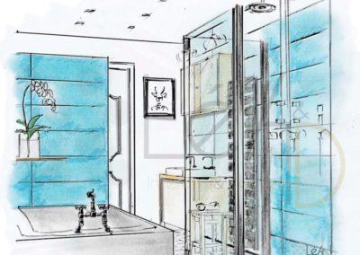 Léa Architecture Décoration Intérieur Bergerac_Coaching Déco - Salle de bains - Carreaux noir et blanc - turquoise