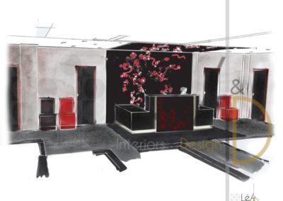 Léa Architecture Décoration Intérieur Bergerac_Espaces professionnels - Accueil - Croquis Salle attente - Feuilles de vignes