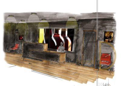 Léa Architecture Décoration Intérieur Bergerac_Espaces professionnels - Accueil - Croquis Salle attente - Tableaux lumineux