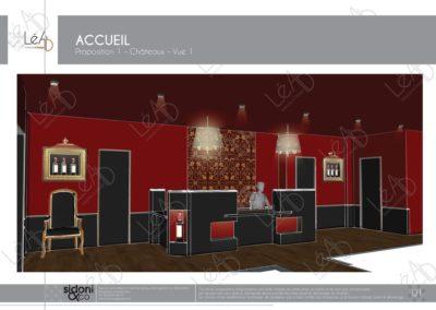 Léa Architecture Décoration Intérieur Bergerac_Espaces professionnels - Accueil - Salle attente - Ambiance château - Esquisse projet 1