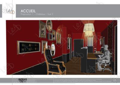 Léa Architecture Décoration Intérieur Bergerac_Espaces professionnels - Accueil - Salle attente - Ambiance château - Esquisse projet 2