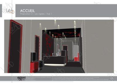 Léa Architecture Décoration Intérieur Bergerac_Espaces professionnels - Accueil - Salle attente - Feuilles de vignes - Esquisse projet 2