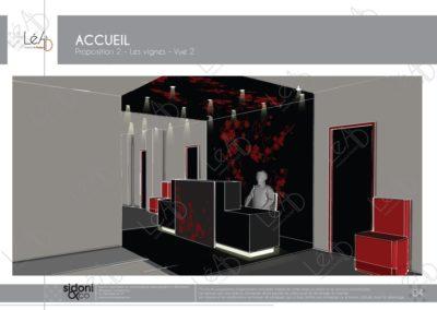 Léa Architecture Décoration Intérieur Bergerac_Espaces professionnels - Accueil - Salle attente - Feuilles de vignes - Esquisse projet