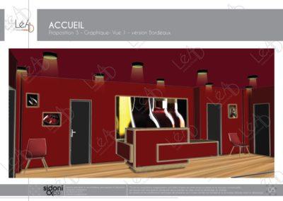 Léa Architecture Décoration Intérieur Bergerac_Espaces professionnels - Accueil - Salle attente bordeaux graphique - Esquisse projet
