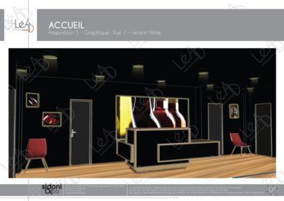 Léa Architecture Décoration Intérieur Bergerac_Espaces professionnels - Accueil - Salle attente noire graphique - Esquisse projet