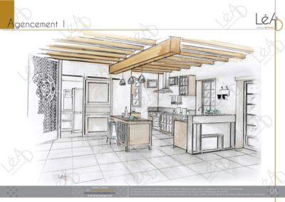 Léa Architecture Décoration Intérieur Bergerac_Relooking Cuisine - Agencement 1 - Croquis