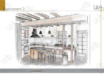 Léa Architecture Décoration Intérieur Bergerac_Relooking Cuisine - Agencement 2 - Croquis