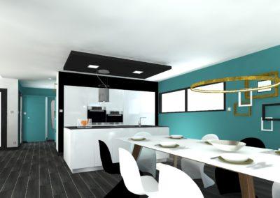 Léa Architecture Décoration Intérieur Bergerac_ Cuisine ouverte - SAM- Bleu canard - Design