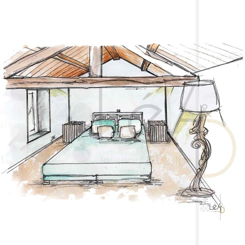 Lea-Interiors-Design-Bergerac_Accompagnement-shopping-Croquis-Chambre-amis-poutres-apparentes