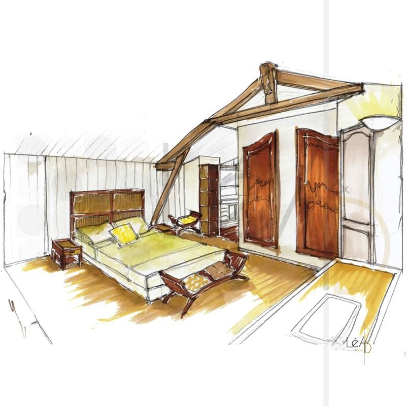 Lea-Interiors-Design-Bergerac_Accompagnement-shopping-Chambre-parentale-poutres-apparentes