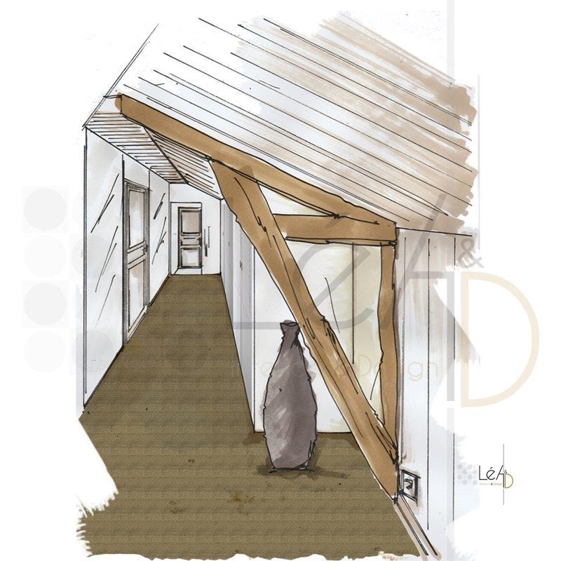 Lea-Interiors-Design-Bergerac_Accompagnement-shopping-Palier-poutres-apparentes-jonc-de-mer