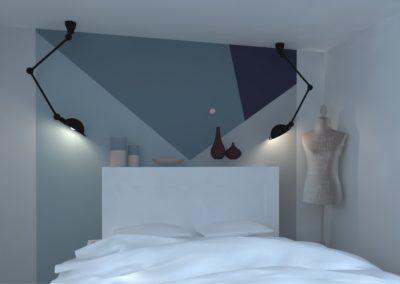 Lea-Interiors-Design-Bergerac_Amenagement-&-Decoration-interieur-3D-Chambre-blanc-bleu-acier-graphique-4