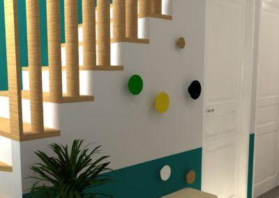 Lea-Interiors-Design-Bergerac_Amenagement-&-Decoration-interieur-3D-Escaliers-bois-blanc-bleu-canard