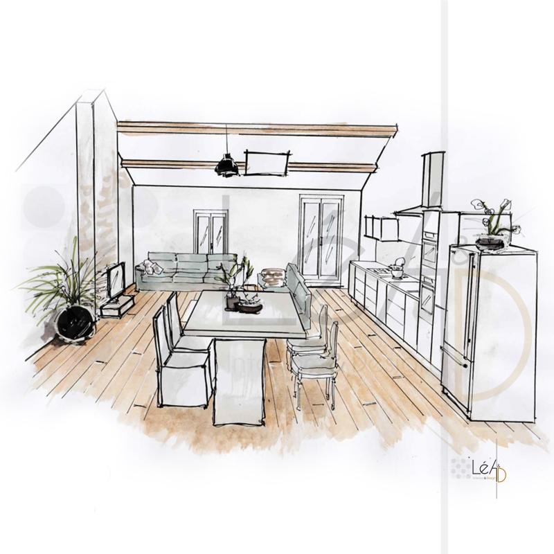 Lea-Interiors-Design-Bergerac_Agencement-appart-pour-location-croquis-Piece-a-vivre-1