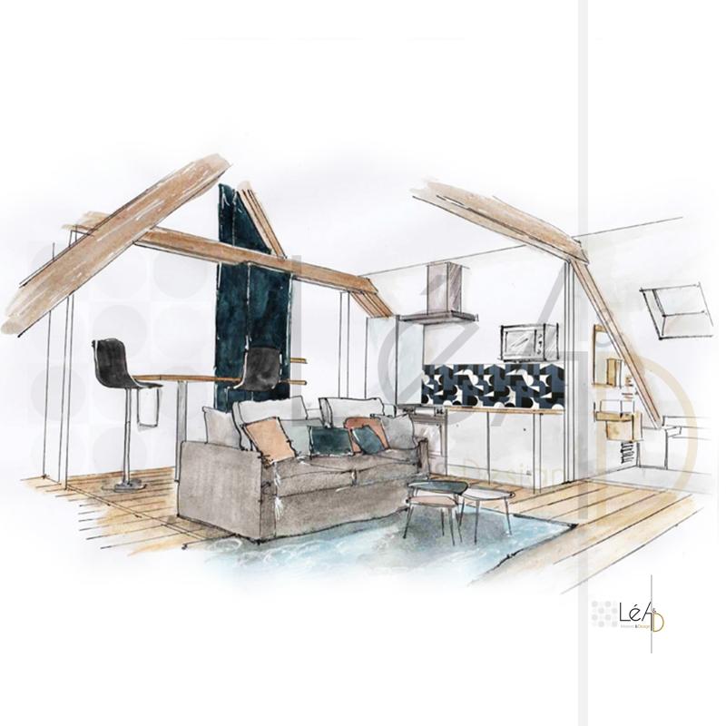 Lea-Interiors-Design-Bergerac_Agencement-studio-pour-location-croquis-Espace-a-vivre-3