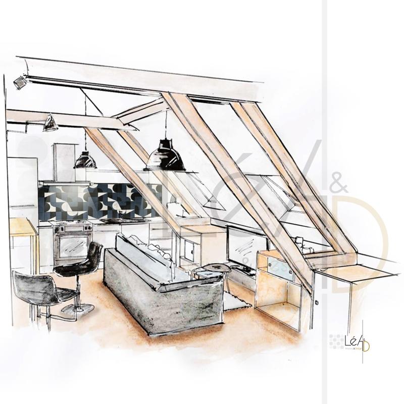 Lea-Interiors-Design-Bergerac_Agencement-studio-pour-location-croquis-Espace-a-vivre-1