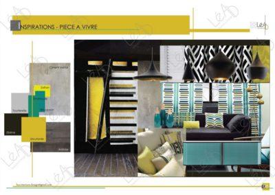 Lea-Interiors-Design-Bergerac_Amenagement-&-Decoration-Interieur-Appart-tout-en-longueur-Inspirations-piece-a-vivre-jaune-noir-bleu-canard