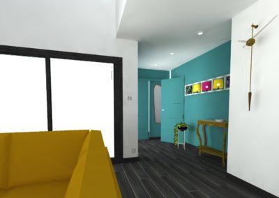 Léa Architecture Décoration Intérieur Bergerac_Entrée- bleu canard - Design