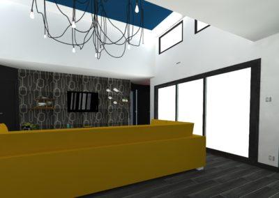 Léa Architecture Décoration Intérieur Bergerac_Salon - canapé U moutarde - Design