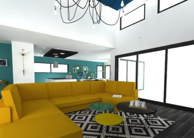 Léa Architecture Décoration Intérieur Bergerac_Salon - canapé moutarde - Design