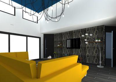 Léa Architecture Décoration Intérieur Bergerac_Salon - canapé moutarde - Papier peint art déco