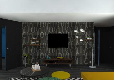 Léa Architecture Décoration Intérieur Bergerac_Salon - canapé moutarde - Papier peint art déco - noyer