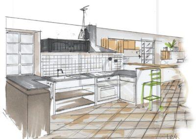 Léa Architecture Décoration Intérieur Bergerac_Rendez-vous Conseils - Croquis cuisine relookée
