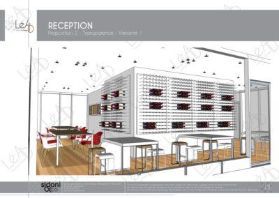 Léa Architecture Décoration Intérieur Bergerac_Espaces professionnels - Salle de réception - Esquisse projet - Blanc - variante 1