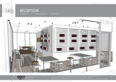 Léa Architecture Décoration Intérieur Bergerac_Espaces professionnels - Salle de réception - Esquisse projet - Blanc - variante 2