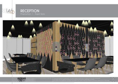Léa Architecture Décoration Intérieur Bergerac_Espaces professionnels - Salle de réception - Esquisse projet - Bois et noir